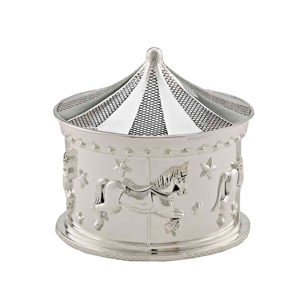 Frazer & Haws 92.5 Silver Plated Carousel Musical Box