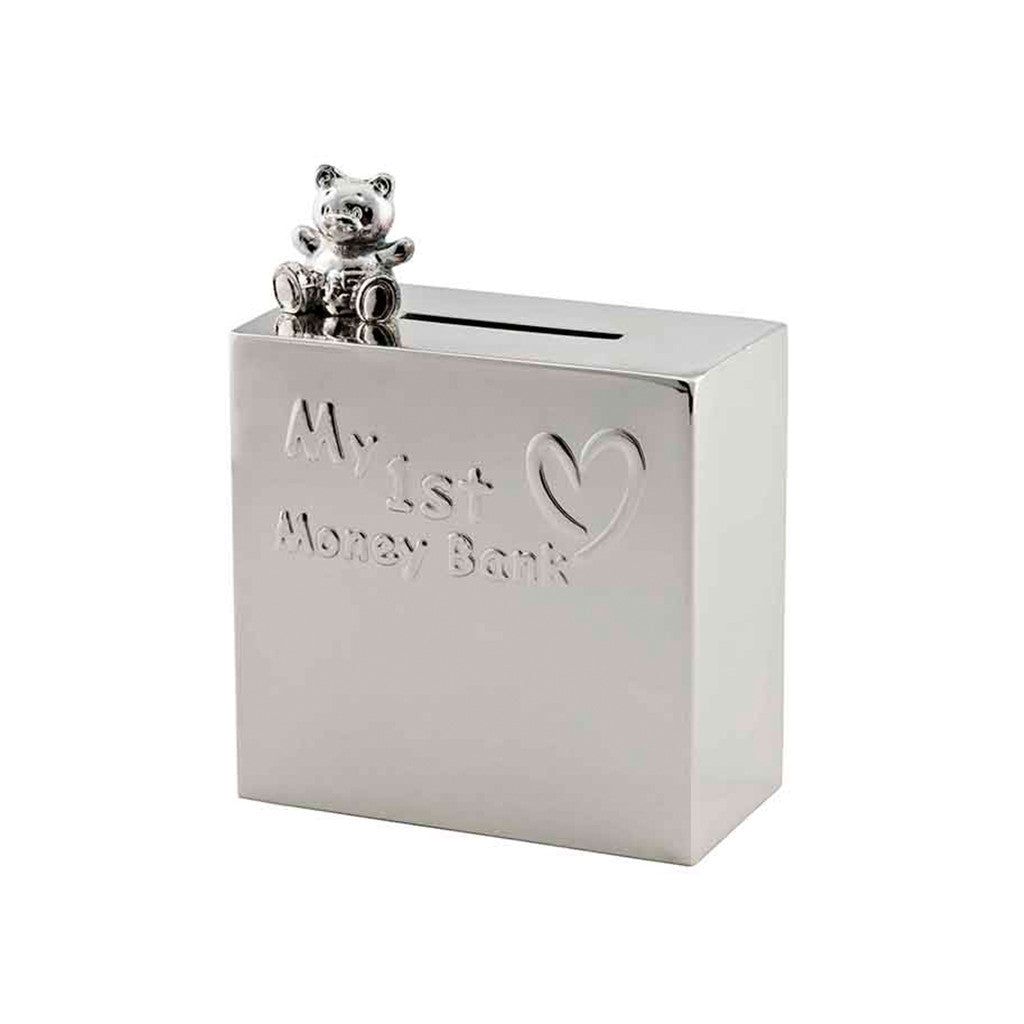 Frazer & Haws 92.5 Silver Plated Money box - My 1st Money Box with Bear