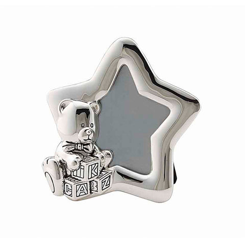 Frazer & Haws 92.5 Silver Plated Photo Frame - Star W/ Bear Shape
