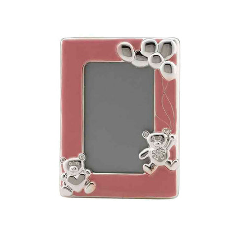 Frazer & Haws 92.5 Silver Plated Photo Frame - W/ Bear & Pink Epoxy