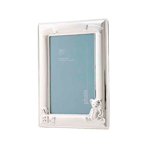 Frazer & Haws 92.5 Silver Plated Photo Frame - W/ Bear & Ribbon Pattern