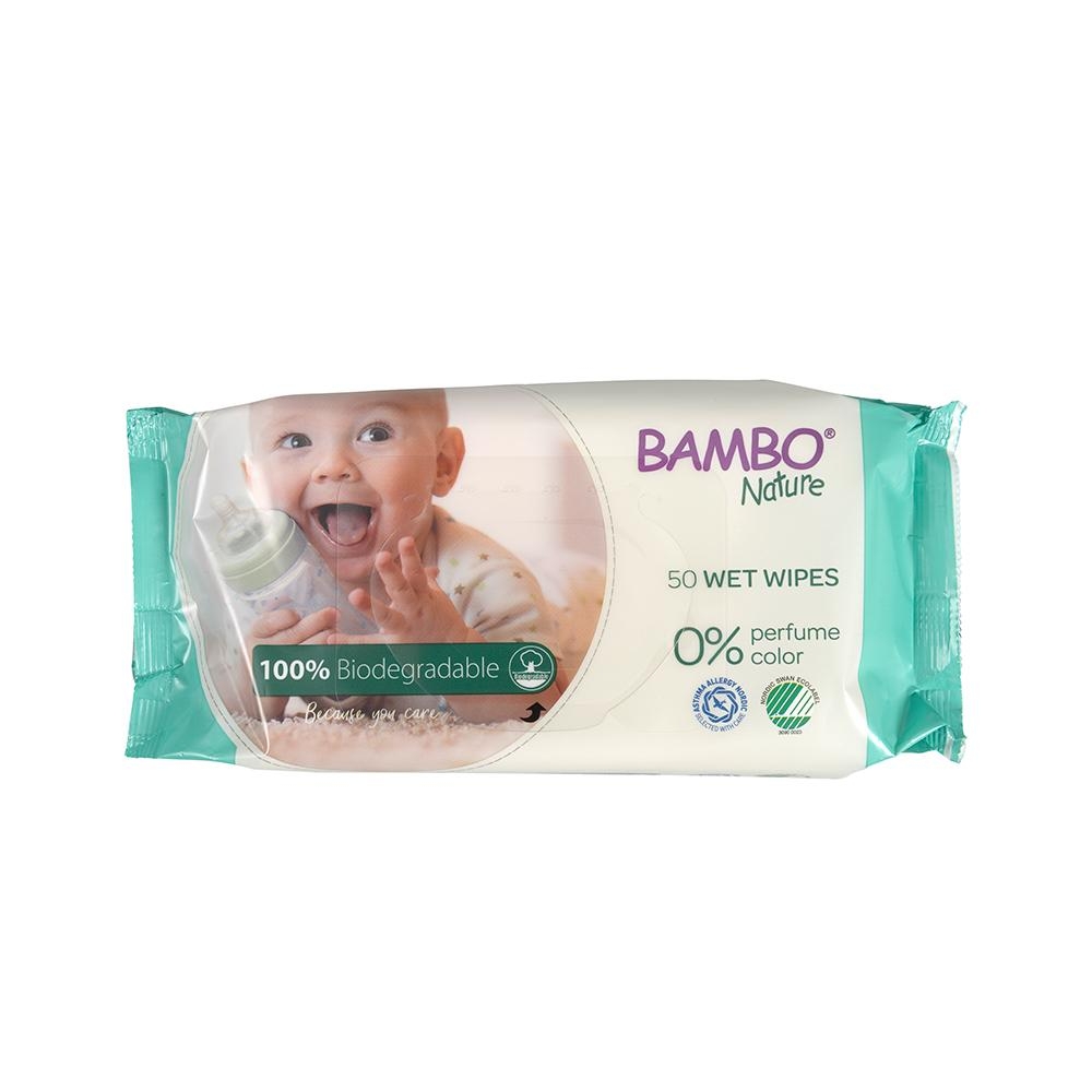 Bambo Nature 100% Biodegradable Wet Wipes - Pack of 1, 50 Count