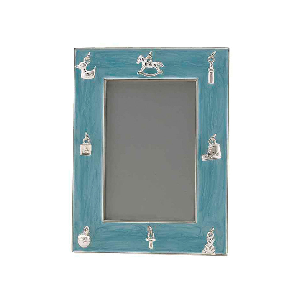Frazer & Haws 92.5 Silver Plated Photo Frame - With Baby Charms & Blue Epoxy