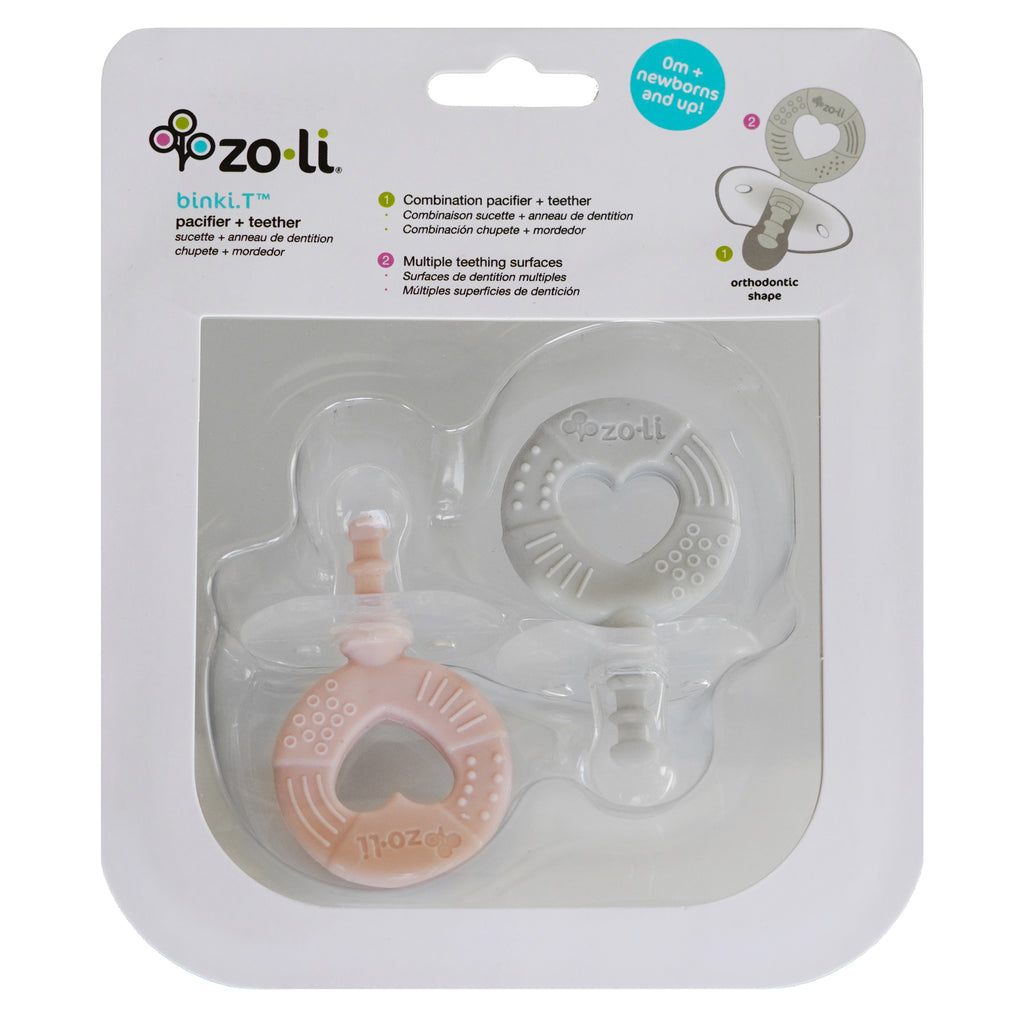 ZoLi BINKI.T Pacifier + Teether Combination Circle (Pack of 2) Blush Ash