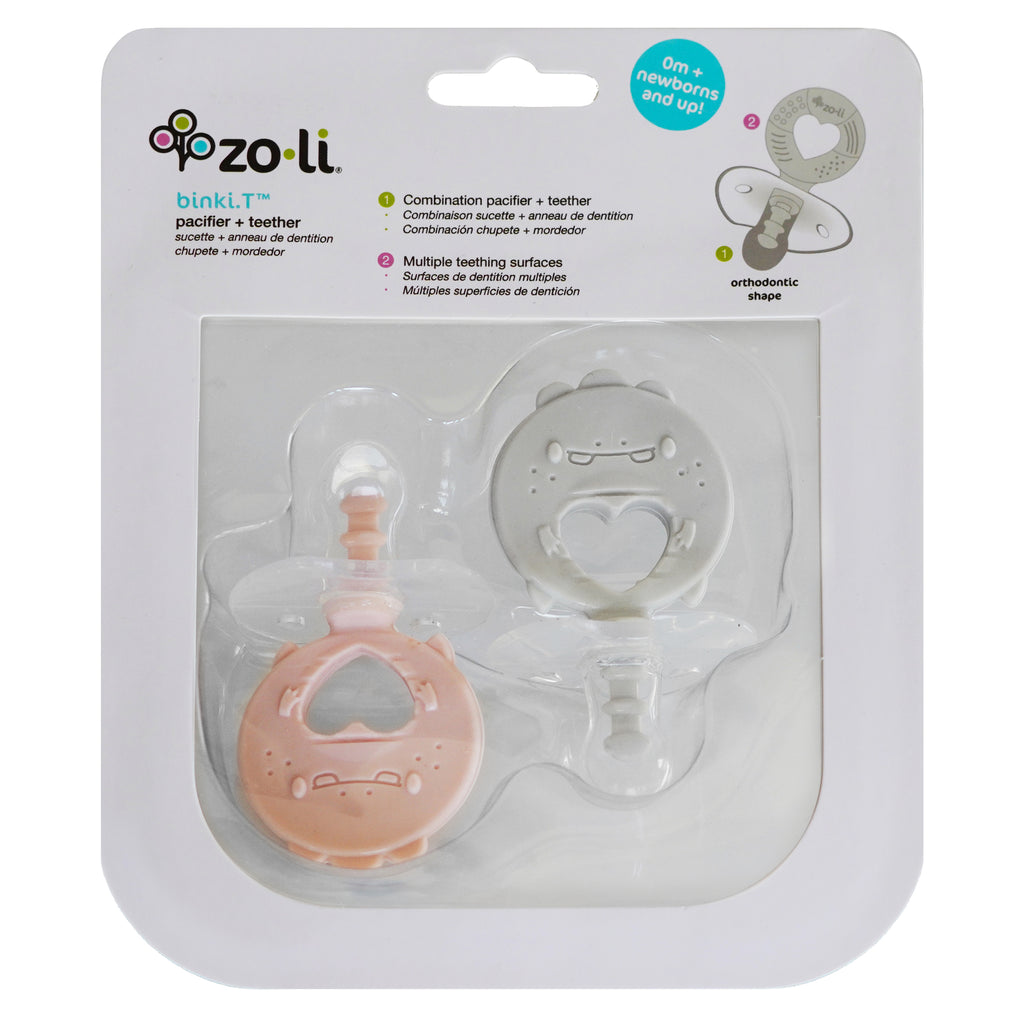 ZoLi BINKI.T Pacifier + Teether Combination Dino (Pack of 2) Blush Ash