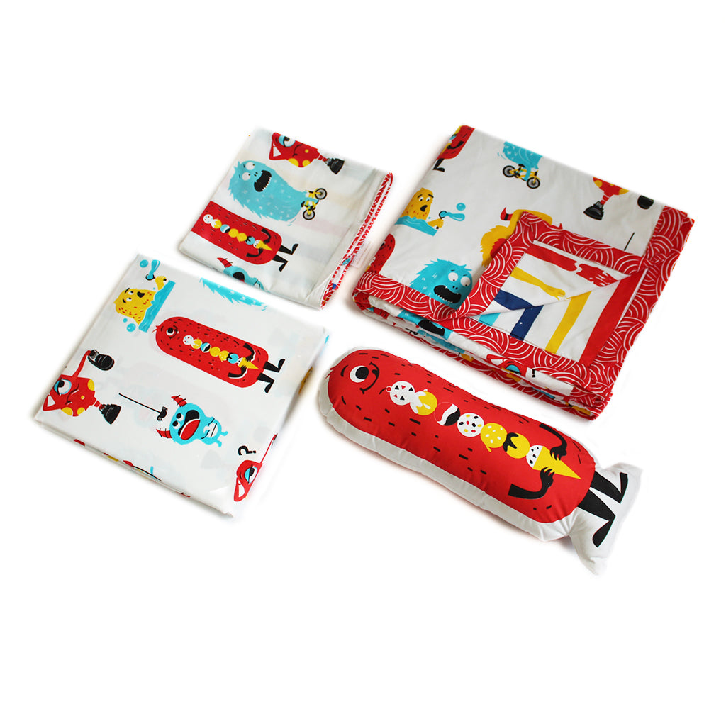 """Bundle of Joy"" Silly Monsters Double Bedsheet Set - Red"