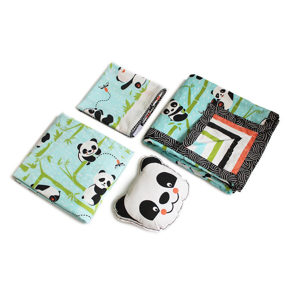 """Bundle of Joy"" Panda Village Single Bedsheet Set - Blue"