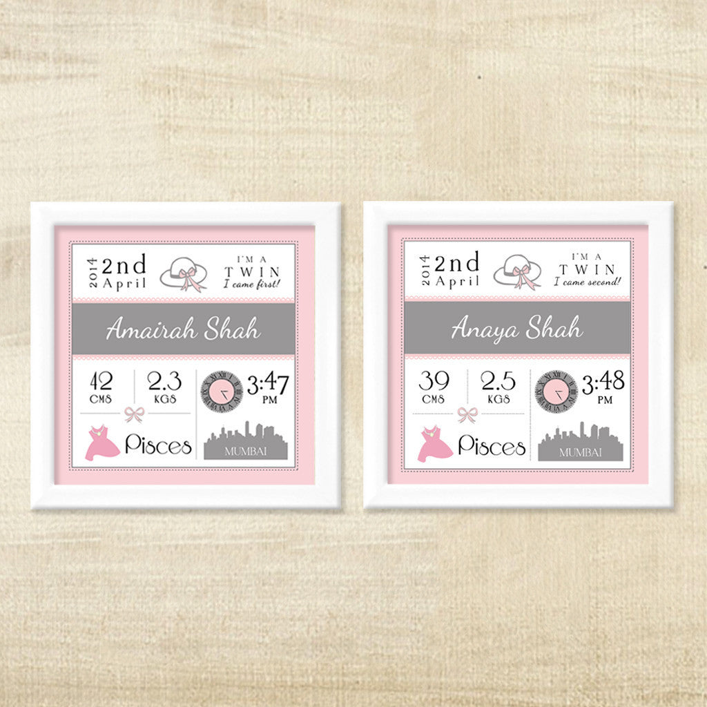 Birth Statisics Frames for Twins, Set of 2