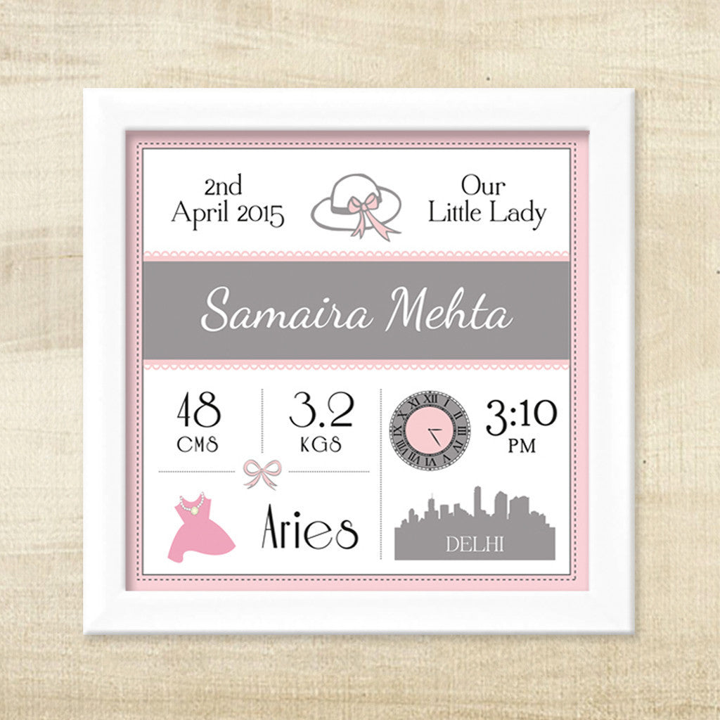 Birth Statistics Frame - Our Little Lady – My Baby Babbles