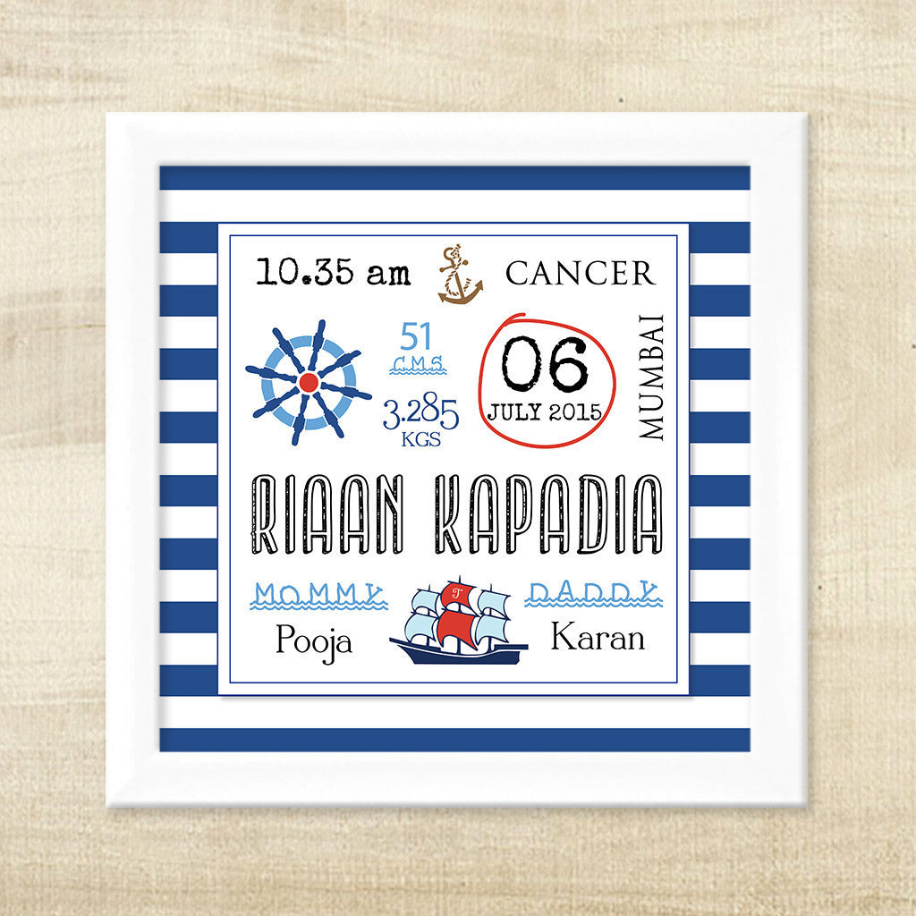 Nautical Birth Statistic Frame My Baby Babbles