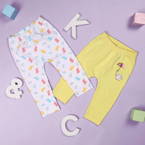 Baby Elephants Girls Diaper Leggings - 2 Pack (NB, 0-24M)