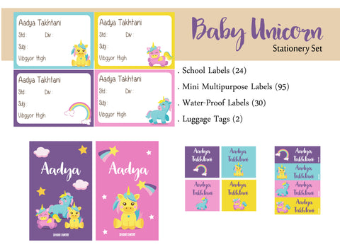 Label Set - Baby Unicorn, 146 labels and 2 bag tags