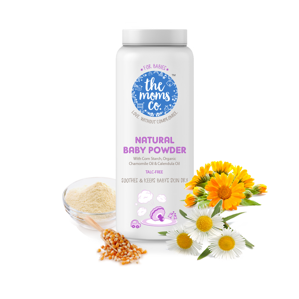 Talc-Free Baby powder with Corn Starch Powder, Organic Chamomile, Calendula and Jojoba Oils