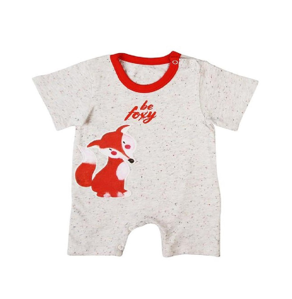 Organic Cotton Short  Sleeve Soft Jersey Romper - Be Foxy