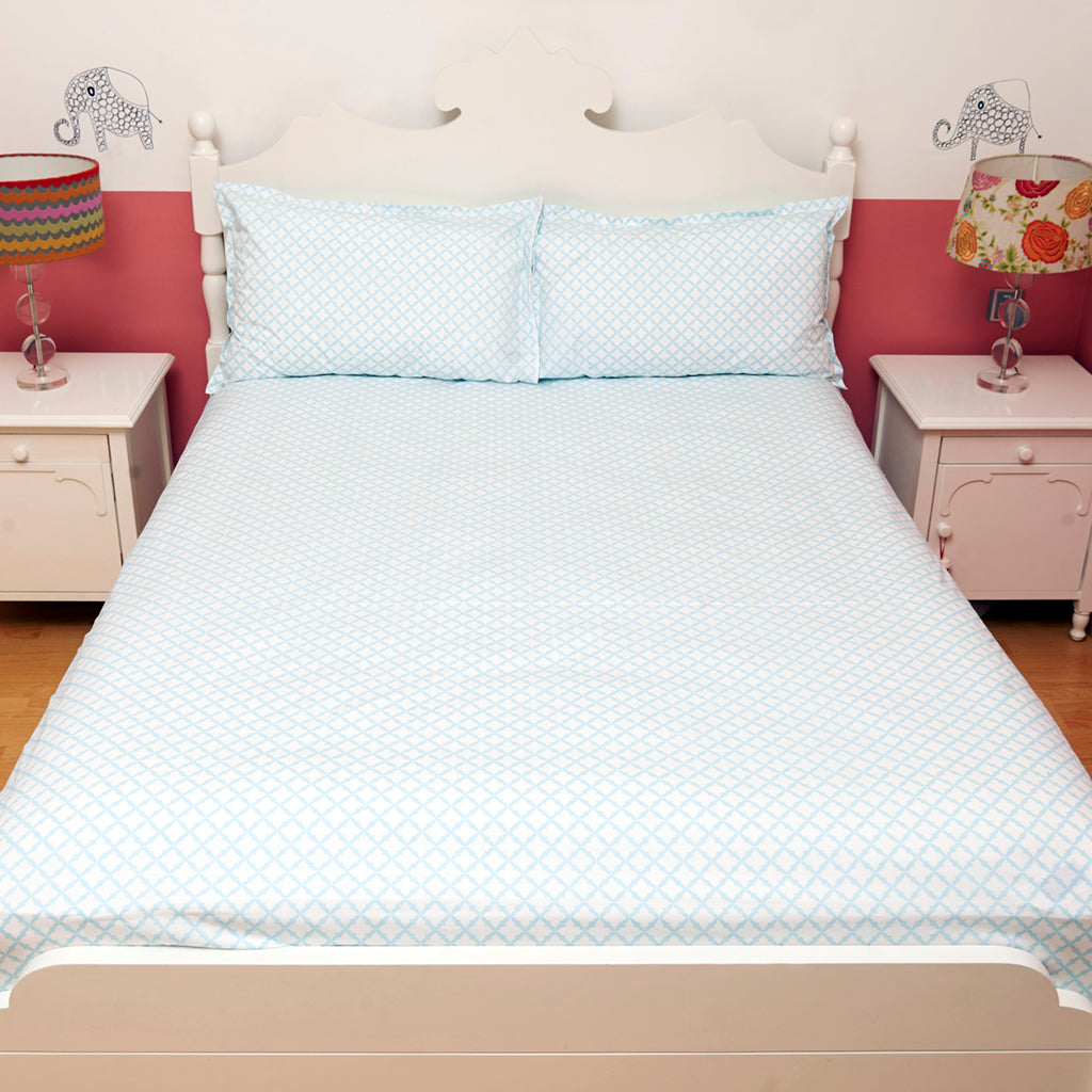 Bedsheet Set - Blue Jaal, Single/Double Bed Sizes Available