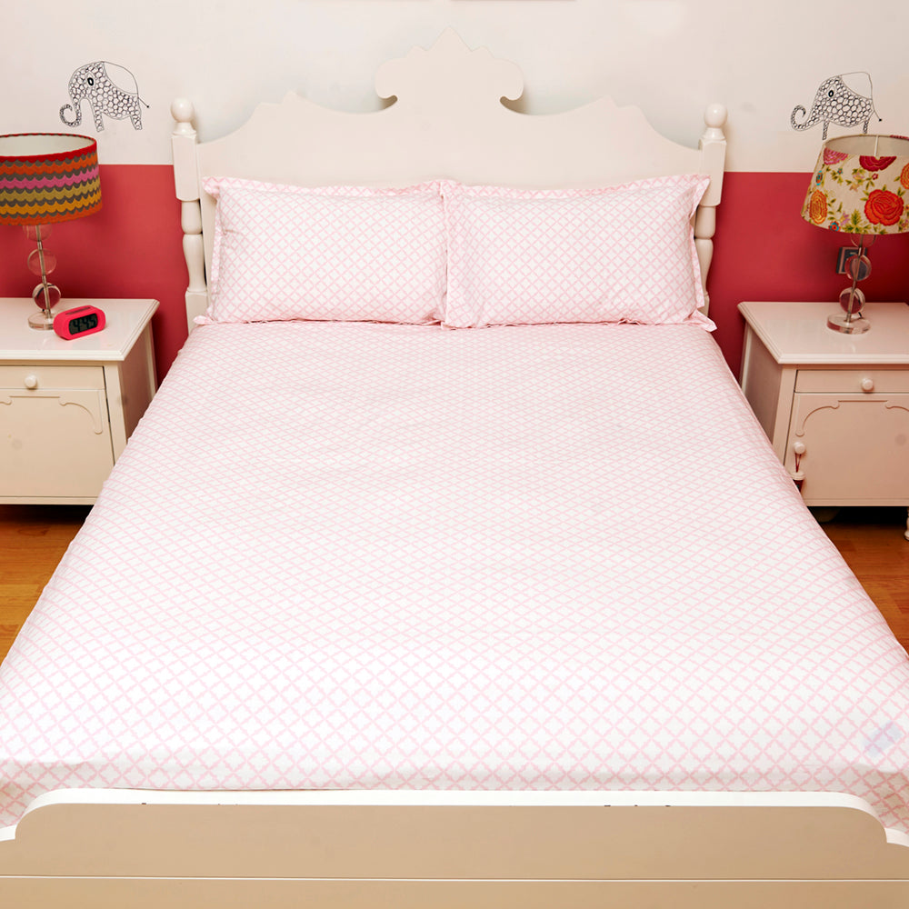 Bedsheet Set - Pink Jaal, Single/Double Bed Sizes Available