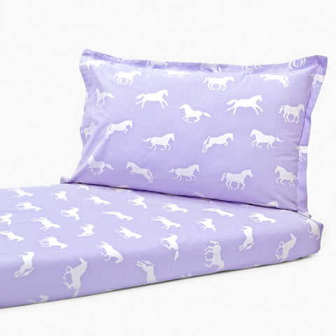 Bedsheet Set - Purple Horse, Single/Double Bed Sizes Available