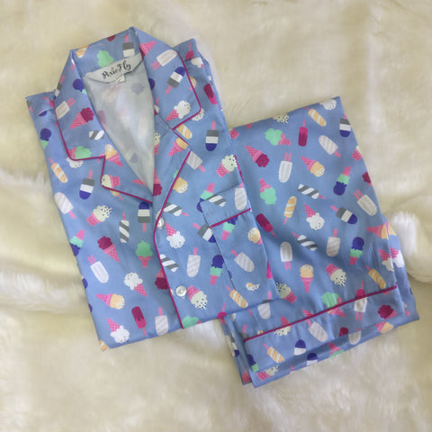 Adult Pyjama Set - Blue Icecream, For Women