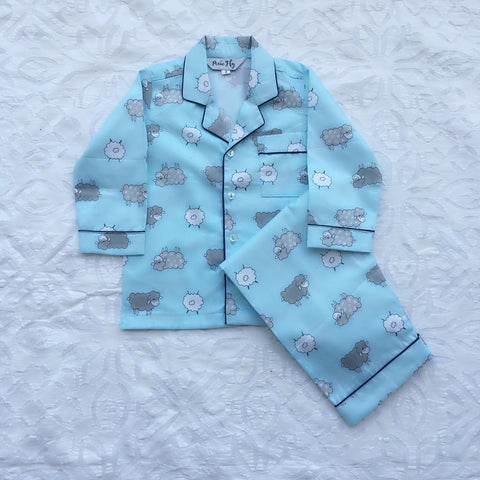 Adult Pyjama Set - Blue Sheep , For Women