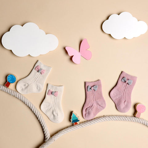Bows & Toes Cream & Pink Socks - 2 pack (0-12M)