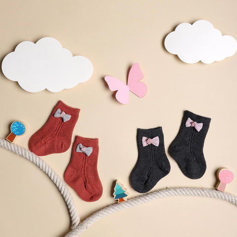 Bows & Toes Red & Black Socks - 2 pack (0-12 Months)