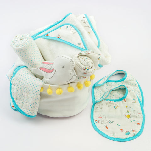 """Bundle Of Love"" Organic Muslin Gift Hamper (Snuggle Bunny)"