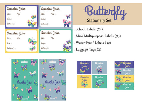 Label Set - Butterfly, 146 labels and 2 bag tags