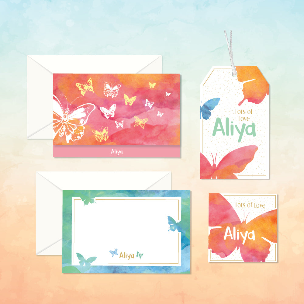Personalized Stationery Gift Set - Butterfly, Set of 24 or 48