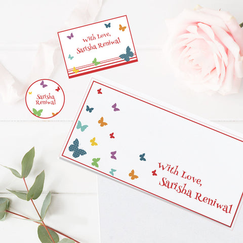 Personalised Gift Envelopes, Cards & Stickers Combo - Butterfly, Set of 130