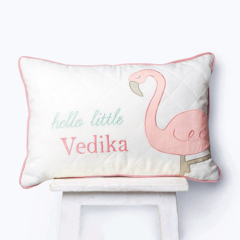 Personalised Cushion With Filler - Hello Flamingo