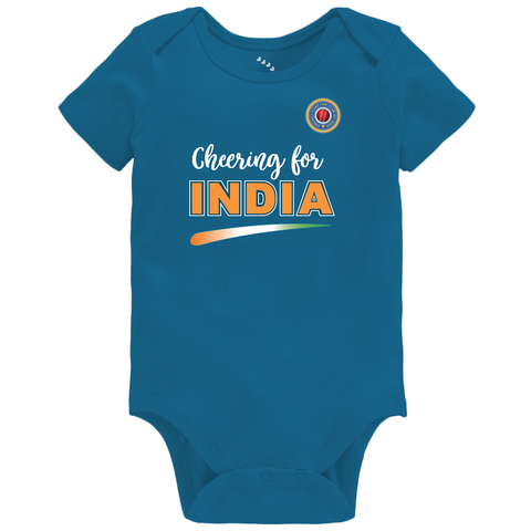 Cheering For India, Cricket - Organic Cotton Onesie, Mid Blue