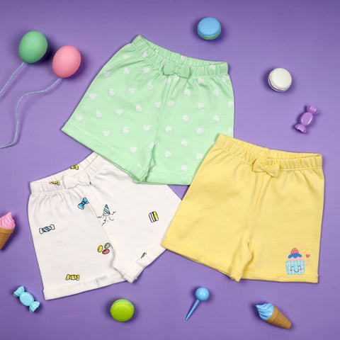 Candy Cut Shorts - Pack of 3 (NB, 0-24M)