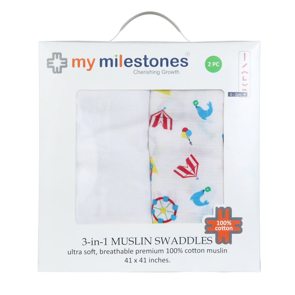 Muslin Swaddle - Carnival, Blue (Pack of 2)