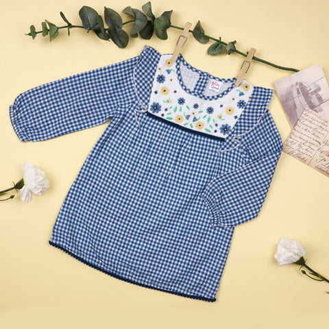 Checks & Flowers Full Sleeve Dress (3-24 Months)
