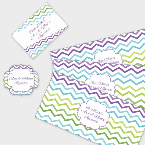 Personalised Gift Envelopes, Cards & Stickers Combo - Chevron, Set of 130