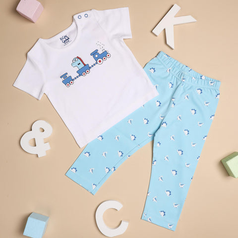 Kicks & Crawl- Choo Choo Dino Coordinate Set - Pack of 2 (NB, 0-24)