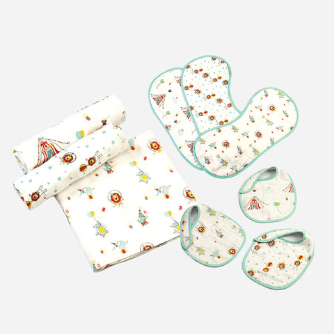 """New Beginnings"" Gift Set - Circus Circus, Set of Swaddles, Bibs & Burp Cloths"