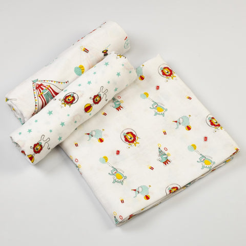 Circus Circus Muslin Swaddle Cloths <br> Set of 3