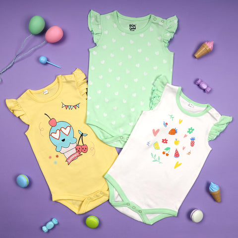 Citrus Summer Onesies - Pack of 3 (NB, 0-24)