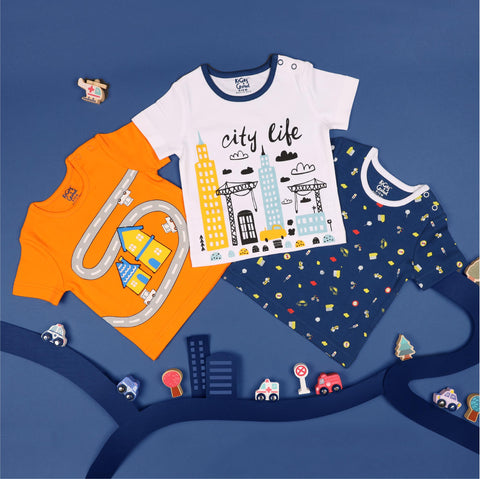 Kicks & Crawl- City Life Tshirts - Pack of 3 (NB, 0-24)