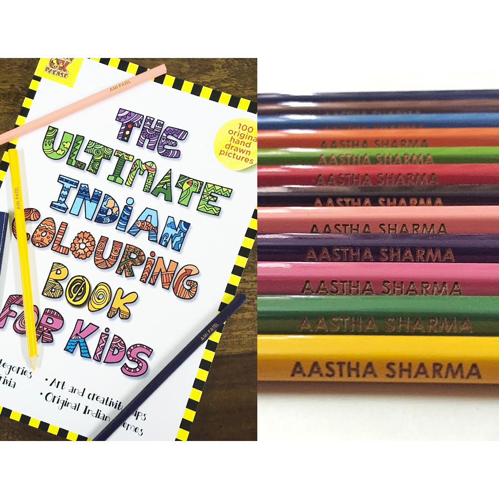 Personalised Colour Pencils with Coloring Book - Pack of 12