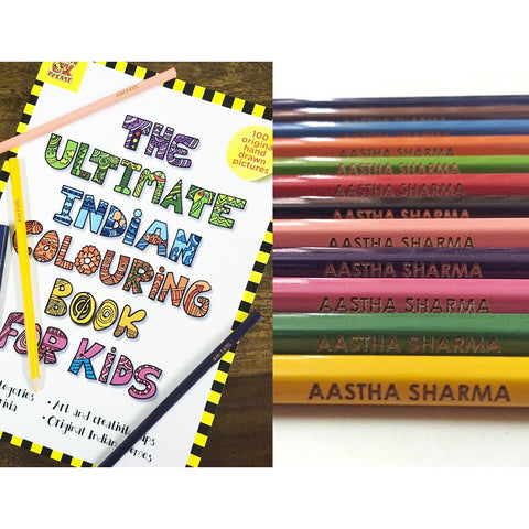 Personalised Colour Pencils with Coloring Book <br/>Pack of 12