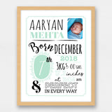 Birth Statistics Frame - Typographical, Mint Green