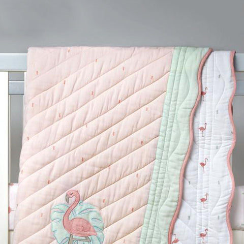 Organic Quilted Blanket - Hello Flamingo - Can be Personalised