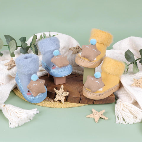 Cozy Star Blue & Yellow 3D Booties - 2 Pack (0-24 Months)