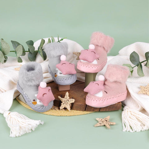 Cozy Star Pink & Grey 3D Booties - 2 pack (0-24 Months)
