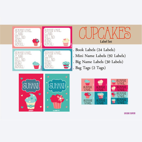 "Label Set<br/>Cupcake Theme<br><span style=""font-size: 11px; font-family:Helvetica,Arial,sans-serif;"">Assorted pack containing 146 labels and 2 bag tags </span>"