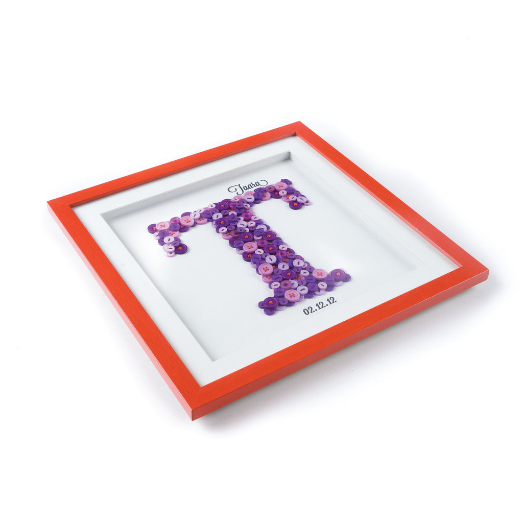 Personalised Button Initial Frame - My Baby Babbles