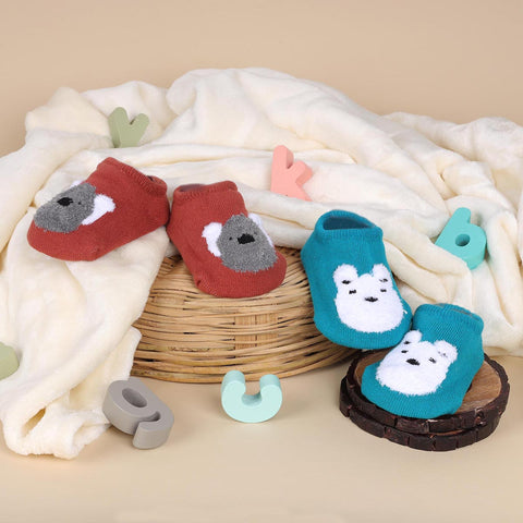 Cutie Bear Blue & Red Socks - 2 pack (6-24 Months)
