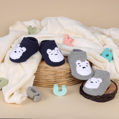 Cutie Bear Grey & Blue Socks - 2 pack (6-24 Months)